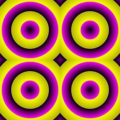 оптическая иллюзия с цветными кругами