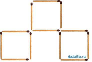 загадка со спичками - два квадрата